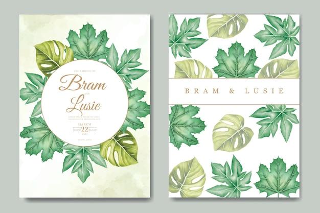 열대 잎 수채화 청첩장