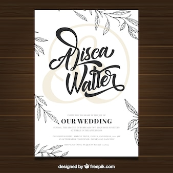 Wedding invitation card with vegetation in hand drawn style