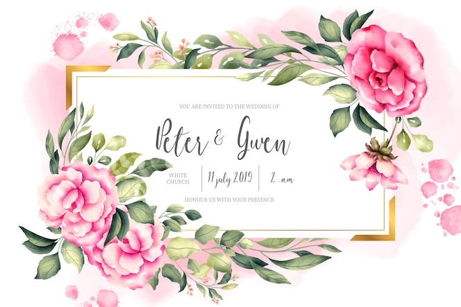 Wedding invitation card with vintage nature