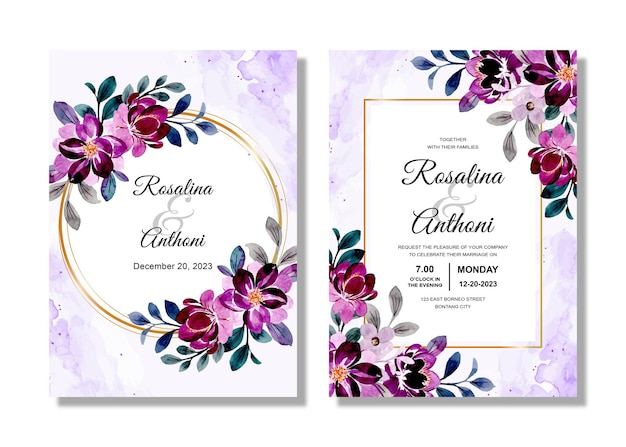 紫の花の水彩画と結婚式の招待カード