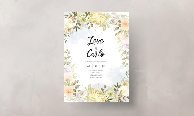 暖かく柔らかい秋秋花の結婚式の招待カード