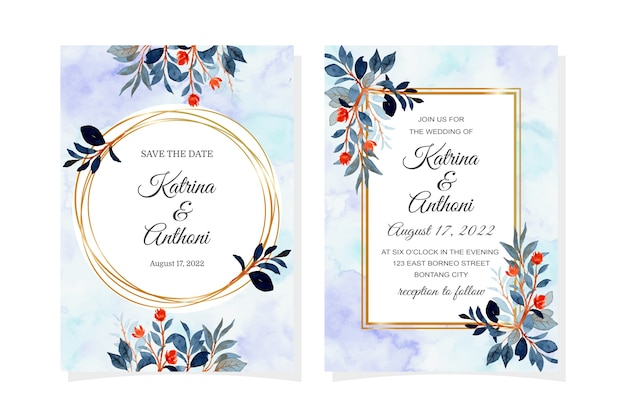 수채화 푸른 잎 결혼식 초대 카드