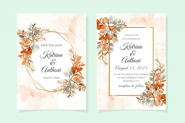 水彩の茶色の葉とゴールデンフレームの結婚式の招待カード