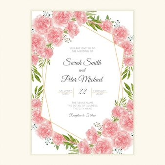 Wedding invitation card with watercolor carnation flower