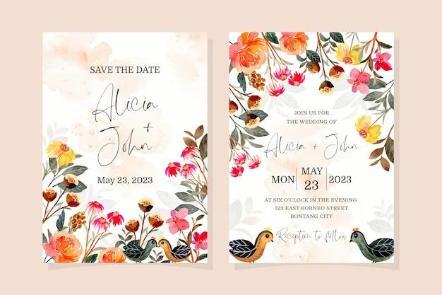 수채화 꽃과 새 결혼식 초대 카드