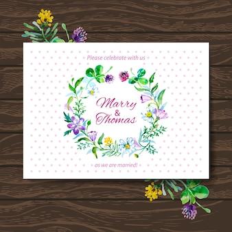 Свадебная пригласительная открытка с акварельным цветочным букетом. векторный фон