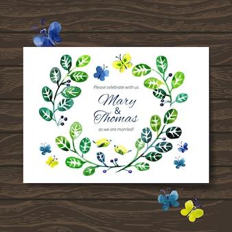水彩花の花束と結婚式の招待状。ベクトルの背景