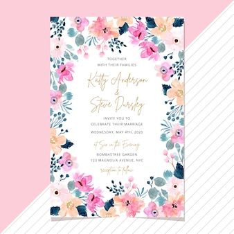 Wedding invitation card with watercolor floral frame