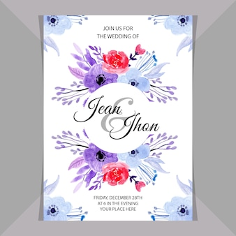 Wedding invitation card with watercolor floral soft blue