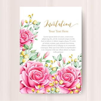 Wedding invitation card with watercolor floral template