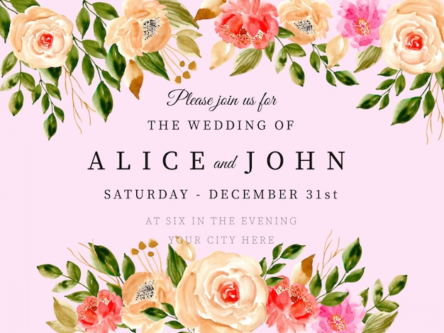 Wedding invitation card with watercolor floral