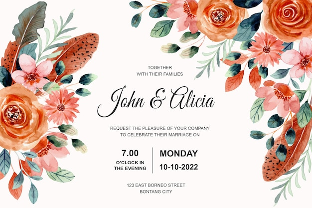 Wedding invitation card with watercolor flower and feather
