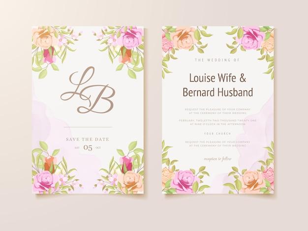 水彩花フレーム付き結婚式招待状