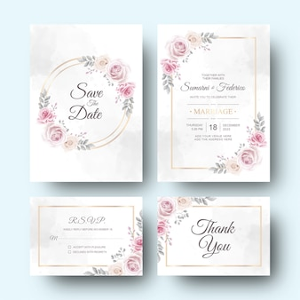 Wedding invitation card with watercolor flower and leaves decoration