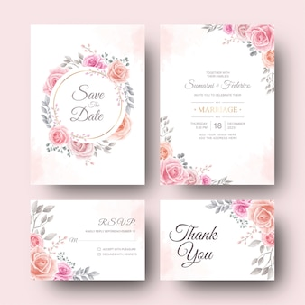 Wedding invitation card with watercolor flower and leaves template