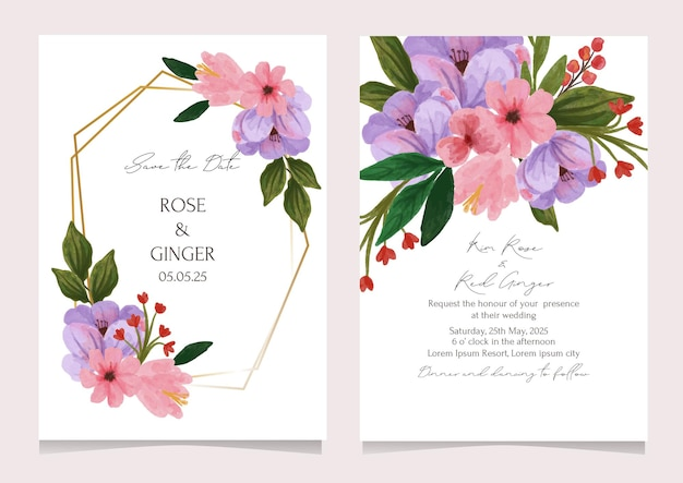 Wedding invitation card with watercolor flower in pink and lilac