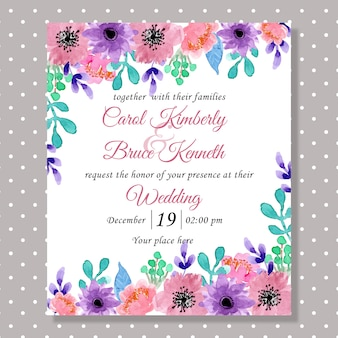 Wedding invitation card with watercolor flower