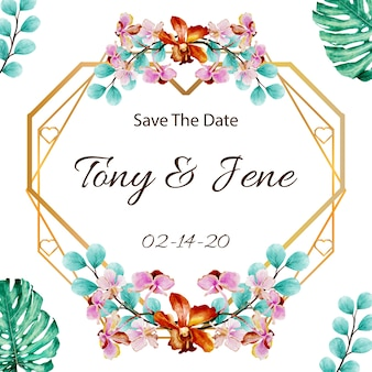 Wedding invitation card with watercolor flowers.
