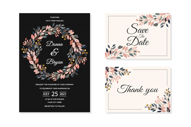 Wedding invitation card with watercolor leaves background