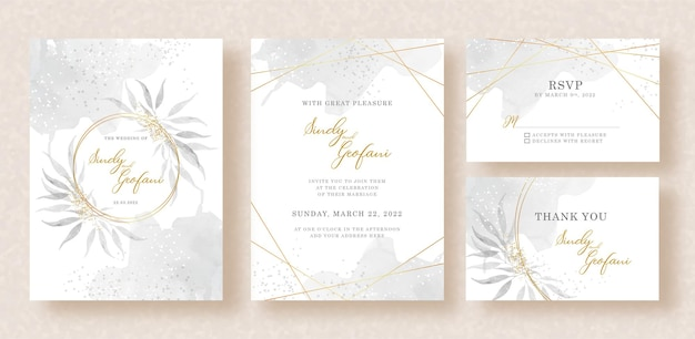 Wedding invitation card with watercolor leaves and splash background template