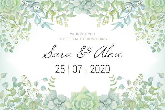 Wedding invitation card with watercolor leaves