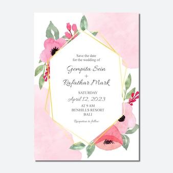 水彩ピンクの花柄のフレームと結婚式の招待カード