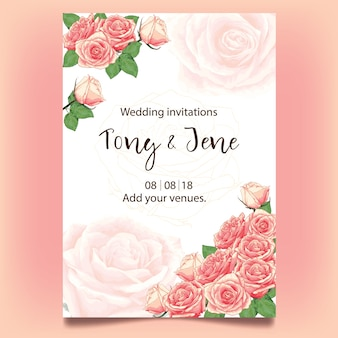 Wedding invitation card with watercolor pink rose flowers.
