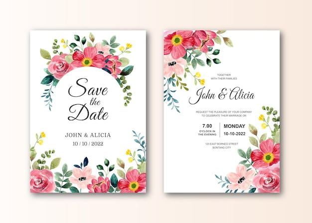Carta di invito a nozze con fiore rosso acquerello