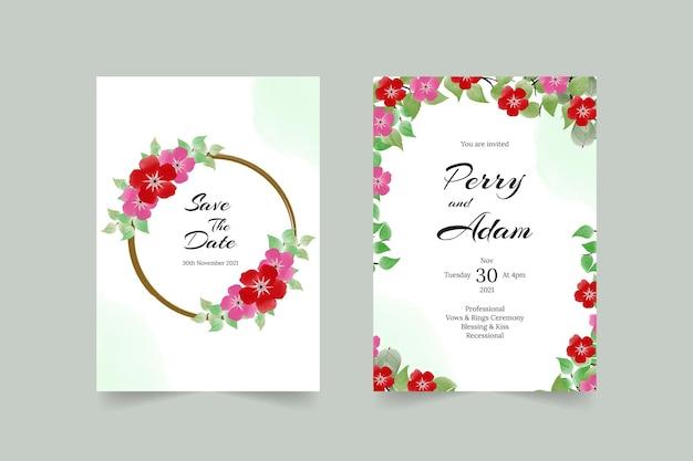 수채화 장미와 잎 결혼식 초대 카드