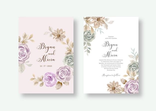 수채화 장미 꽃과 결혼식 초대 카드