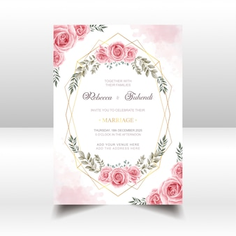 Wedding invitation card with watercolor rose flowers