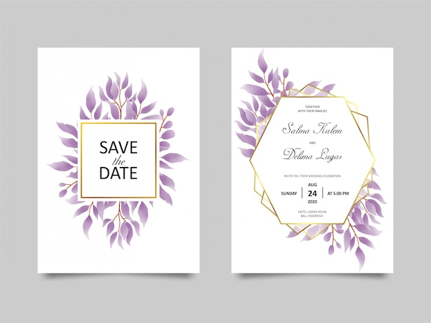 Wedding invitation card with watercolor style purple leaf decoration