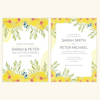 Wedding invitation card with watercolor tropical flower