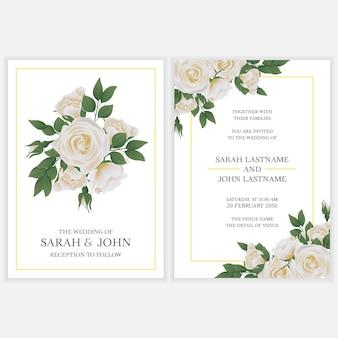 Wedding invitation card with white rose flower bouquet