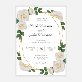 Wedding invitation card with white rose flower frame