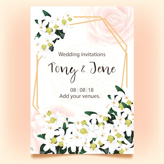 Wedding invitation card with wild white flowers.