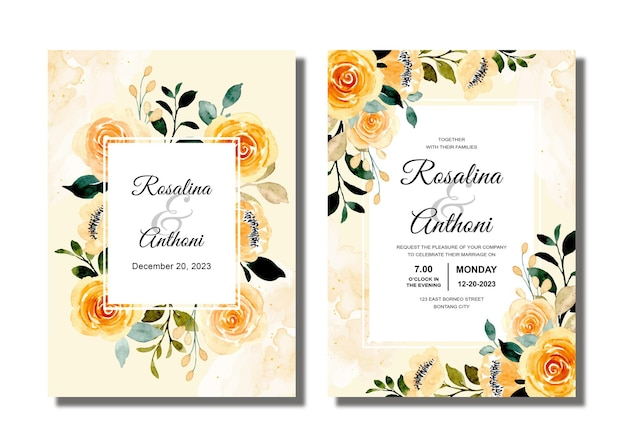 Wedding invitation card with yellow floral watercolor