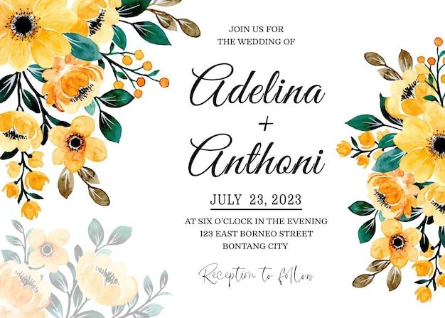 黄色の花の水彩画と結婚式の招待カード