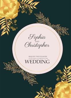 円形フレームイラストの黄色い花と結婚式の招待状