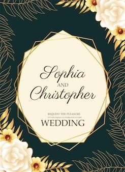 金色のフレームイラストの黄色い花と結婚式の招待状