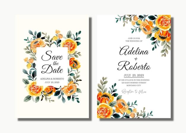 イエローゴールドの花の水彩画と結婚式の招待カード