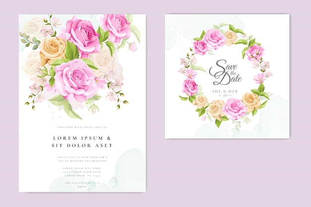 Wedding invitation card with yellow and pink roses template