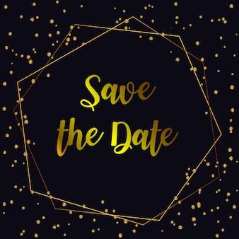 結婚式の招待状。背景とゴールドの幾何学的な線デザインのベクトル。