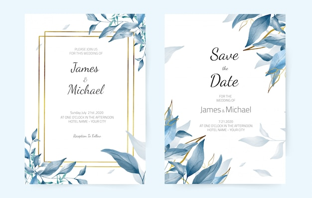 Wedding invitation cards blue leaves, navy watercolor, modern design. decorative greeting card
