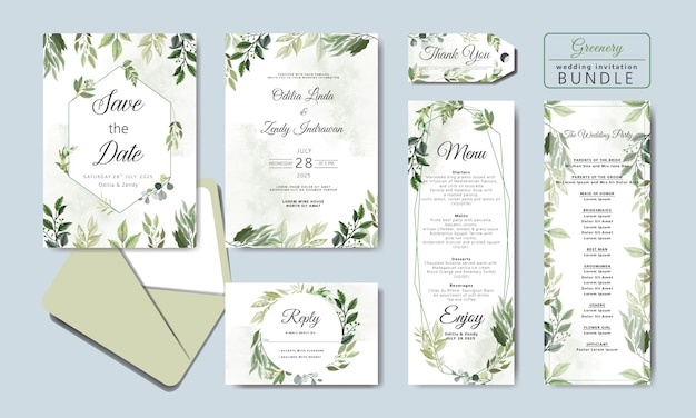 Wedding invitation cards bundle with beautiful floral
