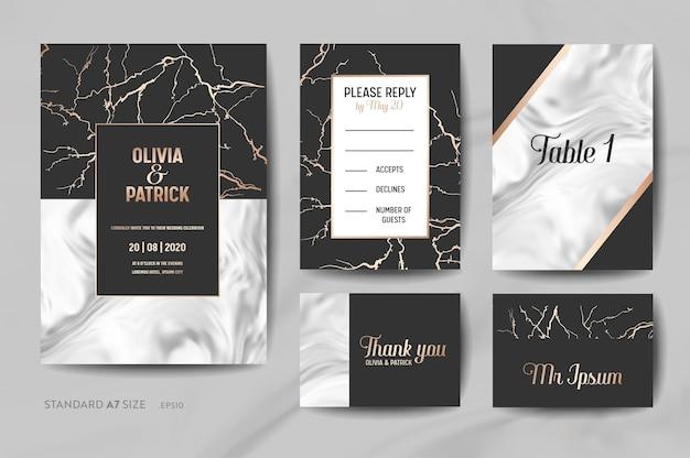 結婚式の招待カードコレクション。日付、出欠確認、トレンディな大理石のテクスチャの背景とベクトルで金の幾何学的なフレームデザインの図とサインを保存します。