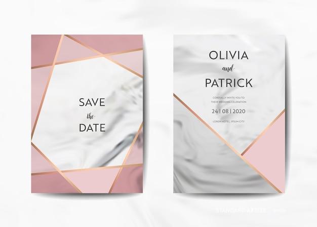 結婚式の招待カードコレクション。日付を保存、トレンディな大理石のテクスチャの背景とベクトルのゴールドの幾何学的なアールデコフレームのデザインイラストで出欠確認