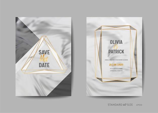 結婚式の招待カードコレクション。日付を保存、トレンディな大理石のテクスチャの背景とベクトルの金の幾何学的なフレームデザインイラストで出欠確認
