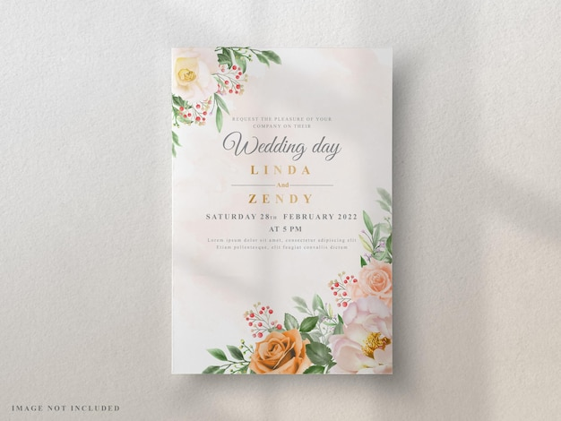 결혼식 초대 카드 우아한 꽃