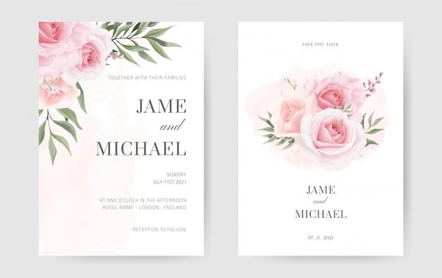 ピンクのバラとグリーンユーカリの葉の結婚式の招待状。最小限のスタイルで設定します。